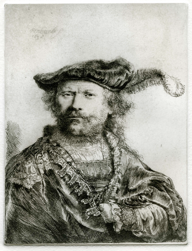 Rembrandt: Self portrait leaning on a stone sill