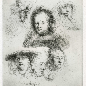 Rembrandt: Studies of the head of Saskia and others